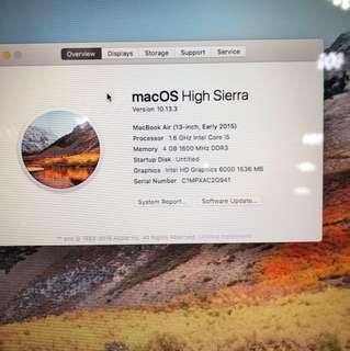 95新2015年macbook air 13吋intel core i5@1.6ghz 4gb ram 256gb ssd