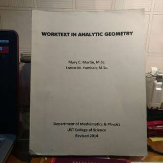 Worktext in analytic Geometry
