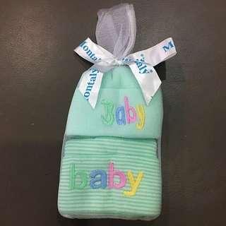 Montaly 2 Pieces Newborn Baby Cap (Green Color)