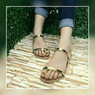 Gold Flat Sandals with Box ♥