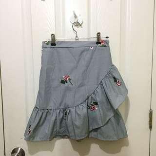 Floral gingham skirt