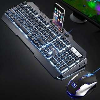 Gaming keyboard+mouse 發光電競鍵盤