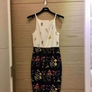 H&M清新花卉細肩修身洋裝
