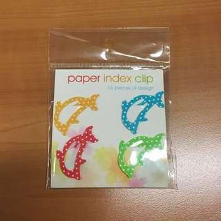 Cute Polka Dot Dolphin Paper Index Clips (16pcs)