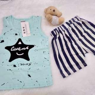 (New) Setelan anak laki gwens celana stripe