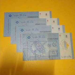 4 keping duit rm1 nombor cantik