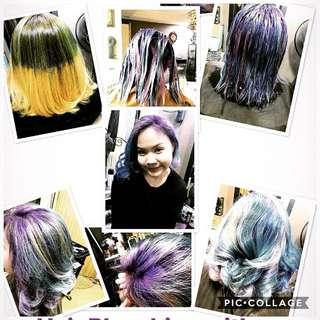 Hair Bleaching with Olaplex and Unicorn 3 tones shades