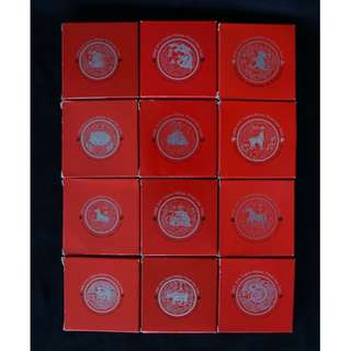 (Only One Set) 1993-2004 Complete Set Singapore Zodiac Lunar Series $10 Cupro-Nickel Proof-Like Coin with Case & Box (MINT)