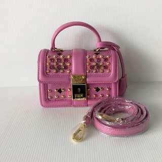 (Brand New) Kept Unused Authentic M*M Limited Edition Mini Square Pink Swaroski Bag