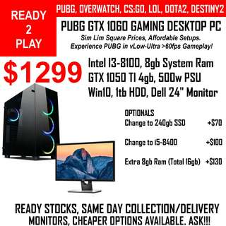 GTX1060 GTX 1060 PUBG Gaming Desktop with monitor Intel Coffee Lake i3-8100 i5-8400 i7-8700K Nvidia ESports Dota2 CSGO LOL CS:GO Overwatch Battlefield Fifa Destiny Dell SE2417 SE2717