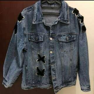 Oversized denim jacket with velvet bow / lace up ties jaket jeans tali eyelet eyelett ring denim
