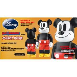 歡迎出價 全新 Medicom Be@rbrick Bearbrick 1000% Mickey Mouse (1st Version) 米奇老鼠 (請留意商品描述及拍賣說明)
