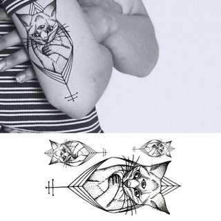 BN Instock Temporary Tattoo Temp Tattoos Eygpt Cat Symbolic Third Eye Illuminati