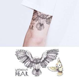 BN Instock Temporary Tattoo Temp Tattoos Owl Nature Wild Animals Without Fear Courage Strength Halloween