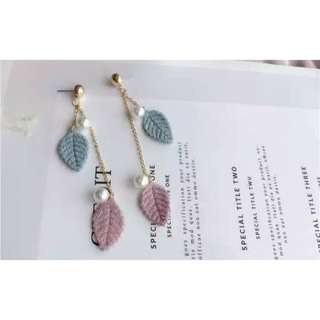 Leaf Dangling Earring With Pearl