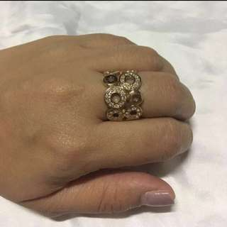 Rosegold-plated cocktail ring