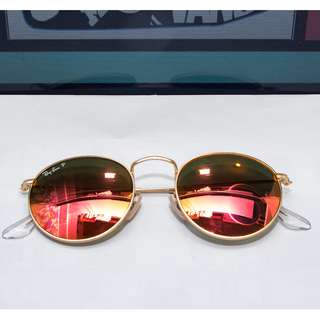 Ray Ban Round RB 3447-112/4D  Frame: matte gold Lens: red mirror polarized