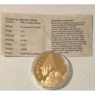 WWI 紀念銅幣表面24K 金