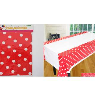 Disposable Party Table Cloth - Polka dot. Yellow, Blue & Green