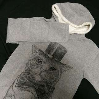 貓圖刷毛帽T