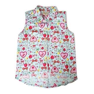 Strawberry Hearts Sleeveless Blouse (1-6Y)