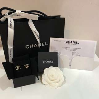 Chanel Gold Tone Metal Earrings Swarovski Crystals