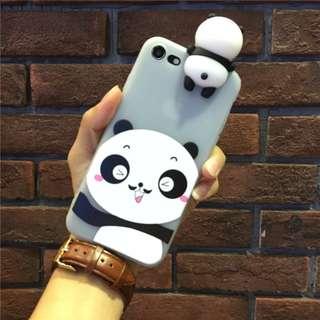 3D Panda Silicone Doll soft TPU case cover iphone 6 6s plus 7 7 plus