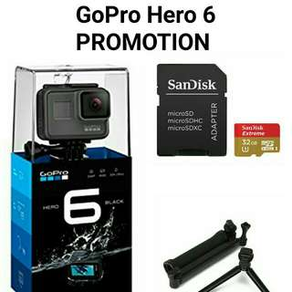 GoPro Hero 6 with Sandisk Extreme 32GB + OEM 3way Pole