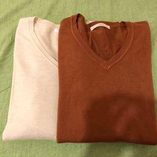 正韓超親膚 舒適針織棉 V領上衣