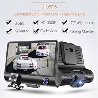 [Free Shipping] 3 Lens 1080FHD Car Camera DVR Front Rear and Inside Dash Cam