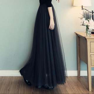黑色蕾絲 蓬蓬裙 長裙(黑/灰)