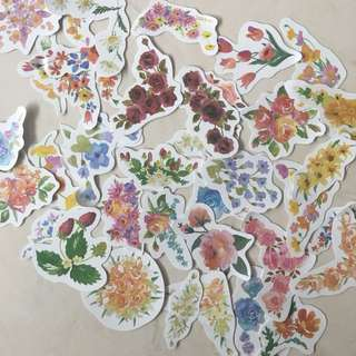 assorted pretty flowers sticker set