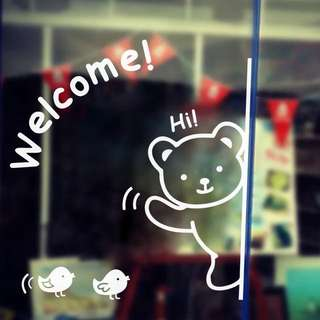 46X50cm Welcome bear wall decal sticker