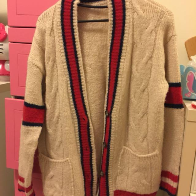 紅條紋毛毛外套