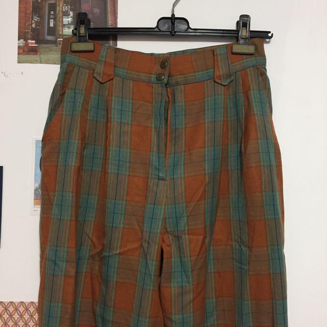 古著格子格紋褲