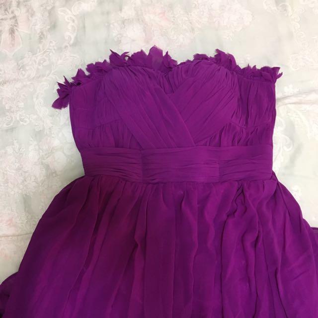 紫色平口小禮服