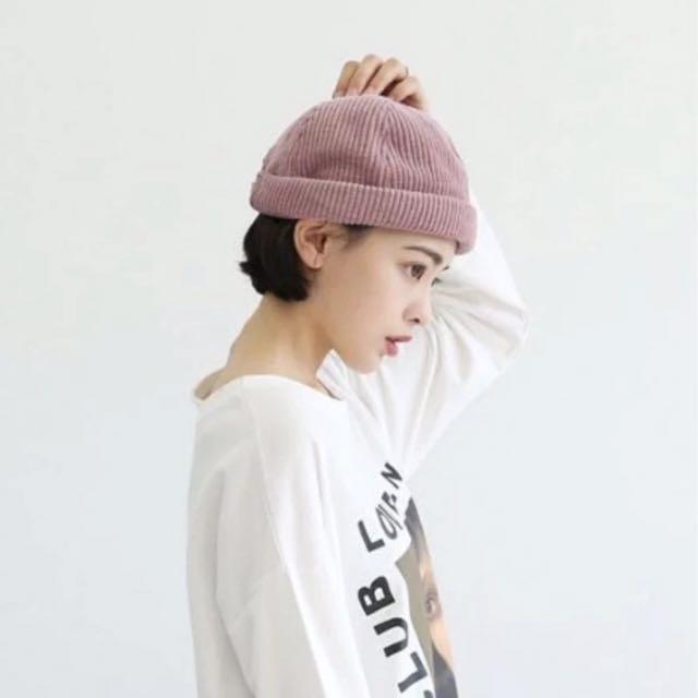 日系燈芯絨粉色帽子瓜皮帽西瓜帽