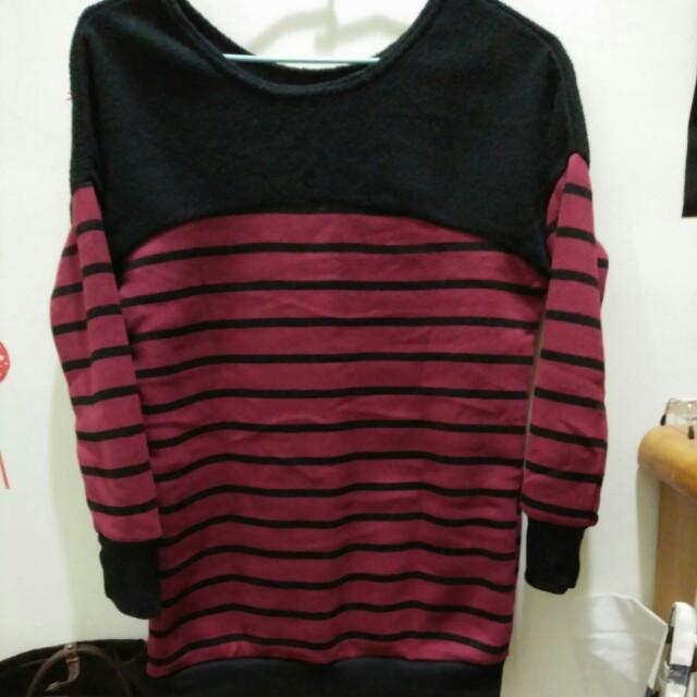 紅黑條紋毛料上衣
