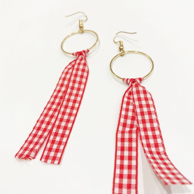 紅色格紋緞帶耳環 #百搭女孩必備