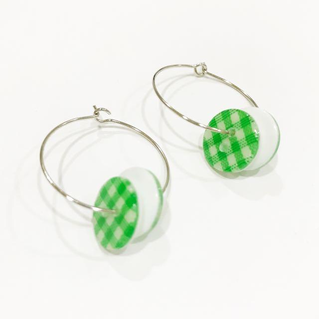綠色鈕扣圓圈耳環 #可愛女孩必備