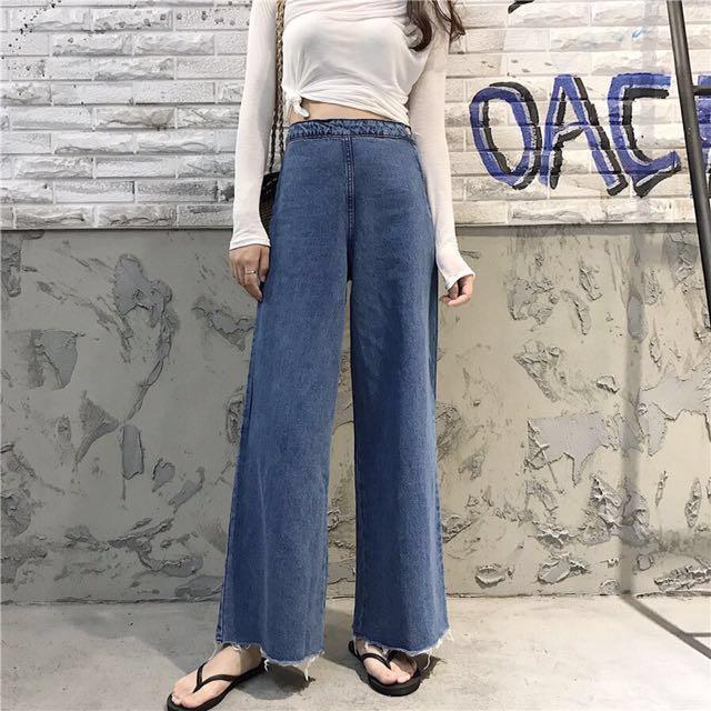 現貨 韓版高腰側扣拉鍊寬褲