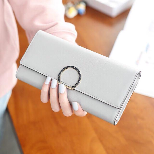 現貨 灰色三折長夾零錢包皮包皮夾女生日禮物
