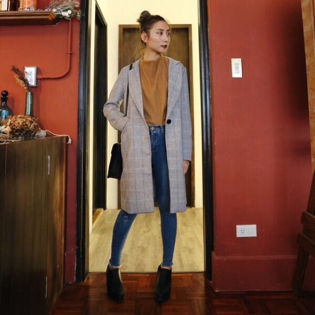 轉賣 sisters 格紋單釦長版西裝外套