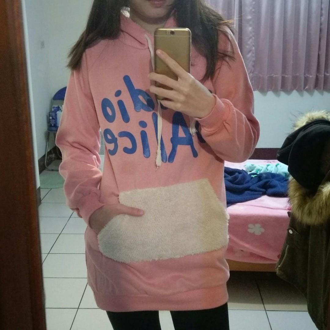 粉色連帽內刷毛上衣 帽T 長版上衣 hoodie