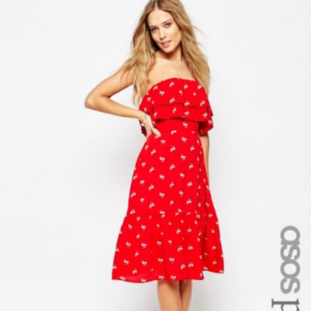 Asos red strapless flowy frill dress flowers