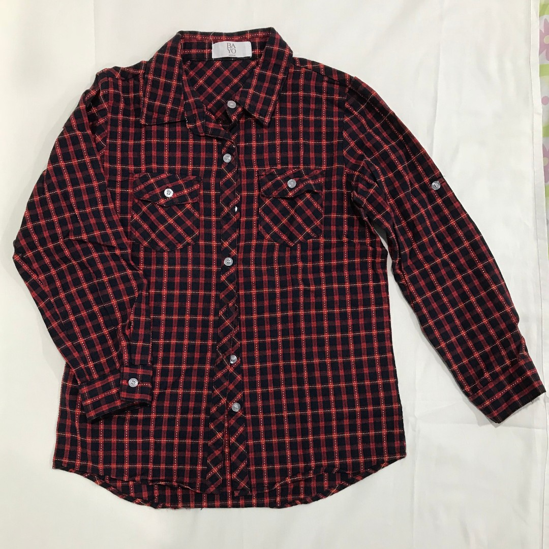 Bayo red flannel shirt size 8-10