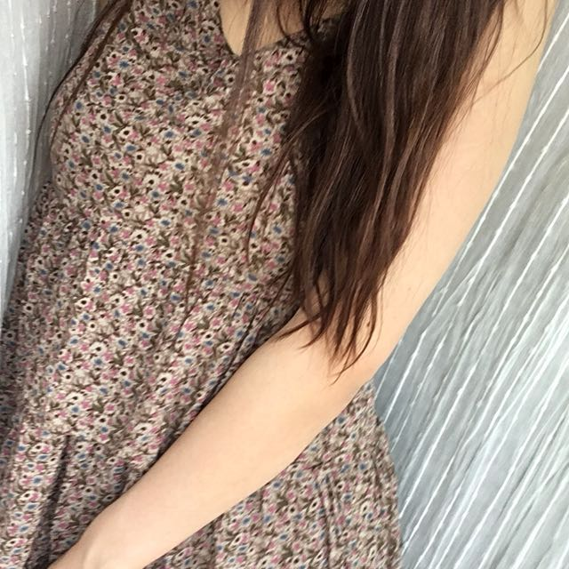 Beige Floral Summer Dress