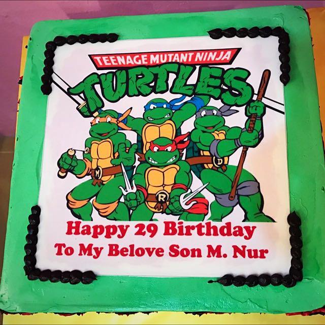 Phenomenal Birthday Cakes Ninja Turtles Food Drinks Baked Goods On Funny Birthday Cards Online Benoljebrpdamsfinfo