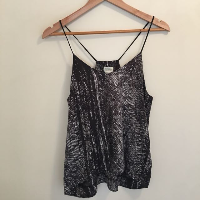 Black and white patterned silky tank