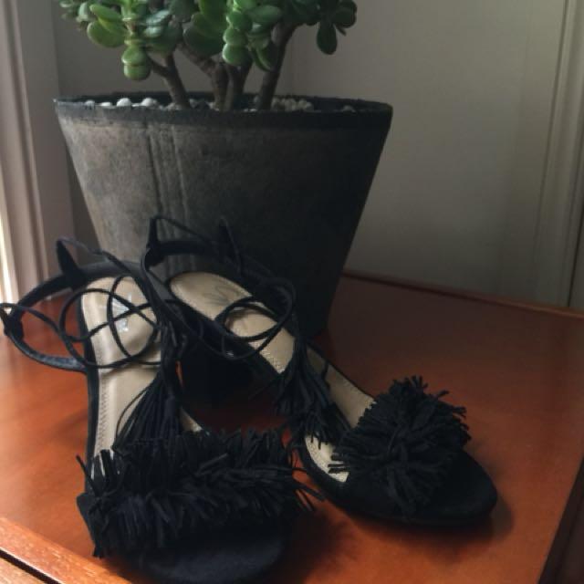 Black Fringe Strappy Sandals